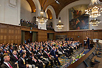 Nederland, Den Haag, 28-08-2013,  100 jarig bestaan Vredespaleis, Peace Palace, <br /> UN secretaris Generaal Ban Ki-Moon, spreekt de genodigden toe tijdens de viering van het 100 jarig bestaan van het Vredespaleis in Den Haag.<br /> UN secretary General Ban KI-Moon addresses the special guests during the centenary celebration of the Peace Palace in The Hague.<br /> foto Michael Kooren/.
