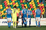 FK Trakai v St Johnstone&hellip;06.07.17&hellip; Europa League 1st Qualifying Round 2nd Leg, Vilnius, Lithuania.<br />Deividas Cesnauskis consoles Ally Gilchrist at full time<br />Picture by Graeme Hart.<br />Copyright Perthshire Picture Agency<br />Tel: 01738 623350  Mobile: 07990 594431