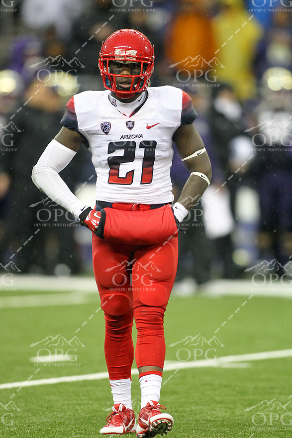 2013-09-28: Arizona's Tra' Mayne Bondurant.  Washington won 31-13 over Arizona in Seattle, WA.
