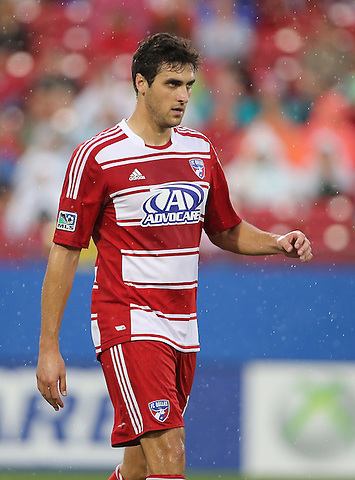 FRISCO, TX: George John #14 of FC Dallas in action against the San Jose Earthquakes at FC Dallas Stadium in Frisco, Texas on May 25,2013 (Photo Rick Yeatts)