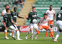 Plymouth Argyle's Stuart O'Keefe under pressure from Blackpool's Jordan Thompson<br /> <br /> Photographer Kevin Barnes/CameraSport<br /> <br /> The EFL Sky Bet League One - Plymouth Argyle v Blackpool - Saturday 15th September 2018 - Home Park - Plymouth<br /> <br /> World Copyright &copy; 2018 CameraSport. All rights reserved. 43 Linden Ave. Countesthorpe. Leicester. England. LE8 5PG - Tel: +44 (0) 116 277 4147 - admin@camerasport.com - www.camerasport.com