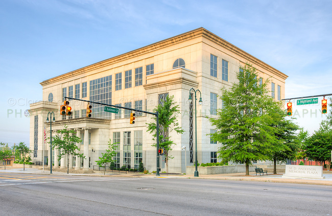 The United States District Courthouse for the Western District of Tennessee is bathed in early morning light shortly after sunrise on S Highland Avenue in Jackson, Tennessee.