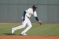 Shortstop Ronny Mauricio (2) of the Columbia Fireflies plays defense in a game against the Rome Braves on Saturday, August 17, 2019, at Segra Park in Columbia, South Carolina. Rome won, 4-0. (Tom Priddy/Four Seam Images)