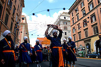 """Roma April 30 2006    .Sikh """"Punj Pyare"""" (Five Beloved Ones) lead a religious parade.The parade is for Visaki, a traditional Sikh celebration.."""