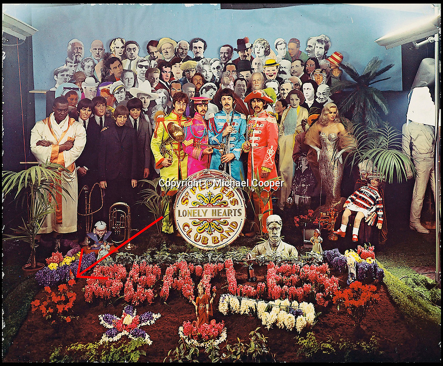 BNPS.co.uk (01202 558833)<br /> Pic: Michael Cooper/Christies/BNPS<br /> <br /> The only Dye transfer print of the famous Sgt Pepper album cover sold by Christies in London.<br /> <br /> This humble garden gnome might not look anything special but it has just gone on sale with a whopping &pound;17,000 price tag - because it starred on the iconic cover of The Beatles' Sgt Pepper's album.<br /> <br /> The cardboard gnome featured alongside a host of celebrities and historic figures including actress Diana Dors, singer Bob Dylan and actor Marlon Brando on the psychedelic cover of the ground-breaking 1967 album.<br />  <br /> Following the photoshoot photographer Michael Cooper's assistant was given the 20-inch tall cardboard gnome as a souvenir by The Beatles, who each signed it.<br /> <br /> Experts at Heritage Auctions in Dallas, Texas, have given the gnome a pre-sale estimate of $25,000 - around &pound;17,000 - but say that given the enduring interest in The Beatles it could sell for much more.