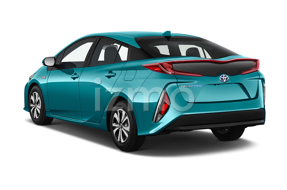 Car pictures of rear three quarter view of 2018 Toyota Prius-Prime Plus 5 Door Hatchback Angular Rear