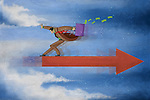 Illustrative image of businessman balancing himself on arrow representing management balance