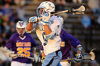 Baltimore, MD - April 5: Midfielder John Greeley #9 of the John Hopkins Blue Jays fires at the cage during the Albany v Johns Hopkins mens lacrosse game at  Homewood Field on April 5, 2012 in Baltimore, MD. (Ryan Lasek/Eclipse Sportwire)