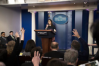 White House Press Secretary Sarah Huckabee Sanders conducts the daily press briefing in the Brady Press Briefing Room of the White House in Washington, DC on Tuesday, January 2, 2017.<br /> CAP/MPI/RS<br /> &copy;RS/MPI/Capital Pictures