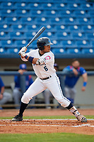 Lake County Captains left fielder Todd Isaacs (6) at bat during the first game of a doubleheader against the South Bend Cubs on May 16, 2018 at Classic Park in Eastlake, Ohio.  South Bend defeated Lake County 6-4 in twelve innings.  (Mike Janes/Four Seam Images)