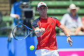 11th January 2018,  Kooyong Lawn Tennis Club, Kooyong, Melbourne, Australia; Priceline Pharmacy Kooyong Classic tennis tournament; Matt Ebden of Australia returns the ball to Richard Gasquet of France