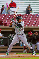 Clinton LumberKings infielder Rayder Ascanio (13) at bat during a Midwest League game against the Wisconsin Timber Rattlers on May 9th, 2016 at Fox Cities Stadium in Appleton, Wisconsin.  Clinton defeated Wisconsin 6-3. (Brad Krause/Four Seam Images)