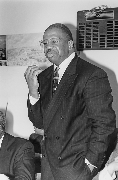 Congressional candidate Rep. Elijah Cummings, D-Md. addressed an audience during forum held at the Bible way Missionary Baptist Church Baltimore, The Night on Feb. 27, 1996. (Photo by Maureen Keating/CQ Roll Call)