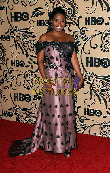SHAR JACKSON.HBO Post Award Reception following the 61st Annual Primetime Emmy Awards held at the Pacific Design Center, West Hollywood, California, USA..September 20th, 2009.emmys full length black pink pattern off the shoulder dress clutch bag.CAP/ADM/PZ.©Paul Zimmerman/AdMedia/Capital Pictures.