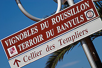 Street sign: Cellier des Templiers. Banyuls sur Mer, Roussillon, France