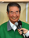 April 10, 2011, Tokyo, Japan - Gov. Shintaro Ishihara beams a smile at his election campaign headquarters following his lopsided victory in the Tokyo gubernatorial election on Sunday, April 10, 2011. Ishihara won his fourth four-year term as Japanese voters went to the polls in the municipal elections for 12 governors, four mayors, 41 prefectural and 15 city assemblies. (Photo by Natsuki Sakai/AFLO) [3615] -mis-