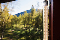 Thermostat on autumn morning at Abiskojaure hut, Kungsleden trail, Lapland, Sweden