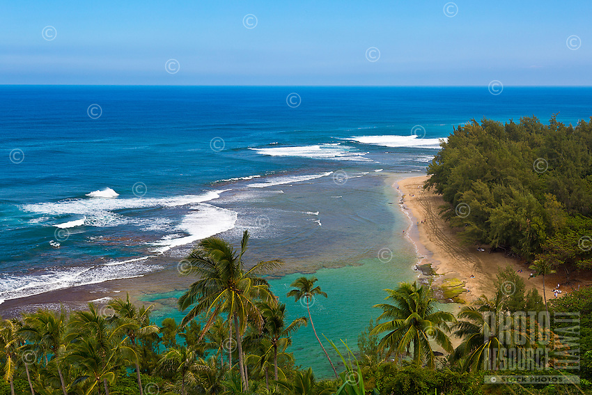 A view of Ke'e Beach, part of Ha'ena State Park and Na Pali Coast, northern Kaua'i'.