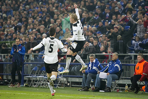 23.02.2012. Gelsenkirchen, Germany.  Scorer Frantisek Rajtoral right and Michal Duris both Plzen celebrate  the goal to equalise the tie at 1 1.  Viktoria Plzen versus FC Schalke Europa Cup last 32. The tie ended in a draw after 90 minutes and went to extra time. Schalke scored another two goals in extra time to win on aggregate by 4-2.