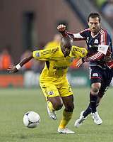 Columbus Crew forward Emilio Renteria (20) on the attack as New England Revolution defender AJ Soares (5) defends. In a Major League Soccer (MLS) match, the New England Revolution tied the Columbus Crew, 0-0, at Gillette Stadium on June 16, 2012.