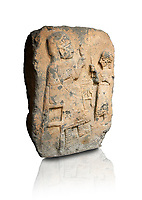 Hittite monumental relief sculpture. Late Hittite Period - 900-700 BC. Adana Archaeology Museum, Turkey. Against a white background