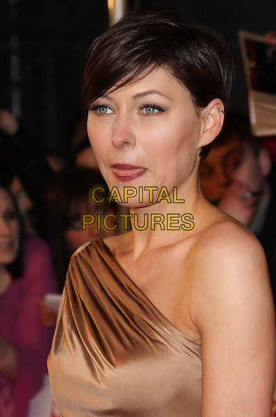 EMMA WILLIS.National Television Awards at the O2 Arena, London, England..January 26th 2011.NTA NTAs headshot portrait griffiths gold brown beige one shoulder tongue funny .CAP/ROS.©Steve Ross/Capital Pictures