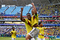 SAMARA - RUSIA, 28-06-2018: Yerry MINA (Izq) jugador de Colombia celebra con Radamel FALCAO después de anotar un gol a Senegal durante partido de la primera fase, Grupo H, por la Copa Mundial de la FIFA Rusia 2018 jugado en el estadio Samara Arena en Samara, Rusia. /  Yerry MINA (L) player of Colombia celebrates with Radamel FALCAO after scoring a goal to Senegal during match of the first phase, Group H, for the FIFA World Cup Russia 2018 played at Samara Arena stadium in Samara, Russia. Photo: VizzorImage / Julian Medina / Cont