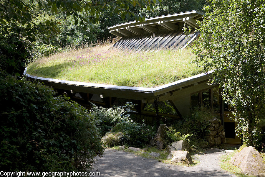 Grass roof visitor centre Castell Henllys Pembrokeshire Wales