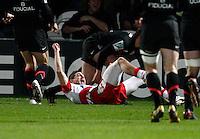 Photo: Richard Lane/Richard Lane Photography. Gloucester Rugby v Stade Toulouse. Heineken Cup. 20/01/2012. Gloucester's Jonny May celebrates his try.