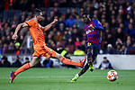UEFA Champions League 2018/2019.<br /> Round of 16 2nd leg.<br /> FC Barcelona vs Olympique Lyonnais: 5-1.<br /> Leo Dubois vs Ousmane Dembele.