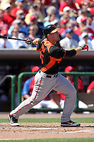 Baltimore Orioles Craig Tatum #15 during a spring training game vs. the Philadelphia Phillies at Bright House Field in Clearwater, Florida;  March 8, 2011.  Philadelphia defeated Baltimore 4-3.  Photo By Mike Janes/Four Seam Images