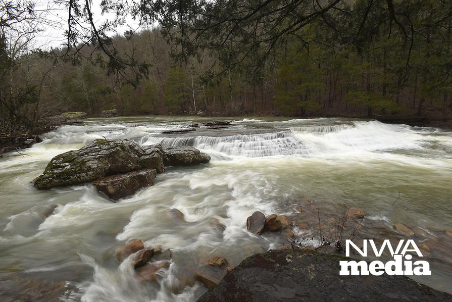 NWA Democrat-Gazette/FLIP PUTTHOFF<br />Waterfalls roar Feb. 23 2018 along Falling Water Creek in the Ozark National Forest after heavy rain. Waterfalls can be seen from the roadway along Forest Road 1205, which runs beside the creek.