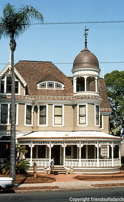 San Diego: Long-Waterman Residence, 1889. This picture shows house after restoration, 1980.