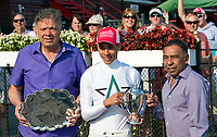Jose Ortiz receives the Angel Cordero award for leading jockey at Saratoga Race Course, Sep. 4.   (Bruce Dudek/Eclipse Sportswire)