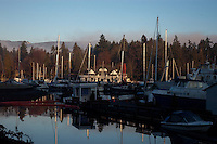 Marina and boat reflections, English bay.Vancouver,British Colombia, Canada