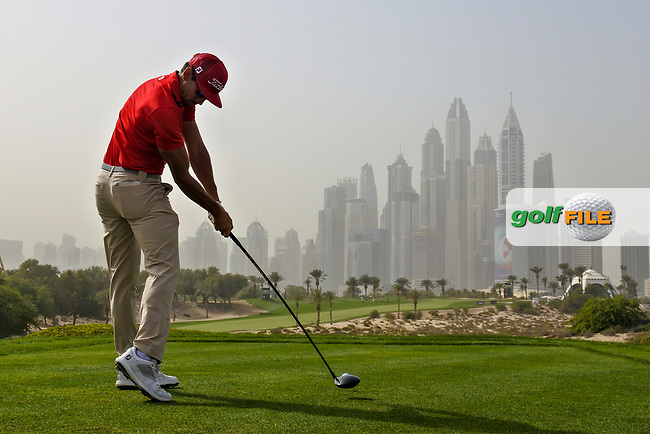 Rafa Cabrera-Bello (ESP) on the 8th tee during Round 1 of the Omega Dubai Desert Classic, Emirates Golf Club, Dubai,  United Arab Emirates. 24/01/2019<br /> Picture: Golffile | Thos Caffrey<br /> <br /> <br /> All photo usage must carry mandatory copyright credit (&copy; Golffile | Thos Caffrey)