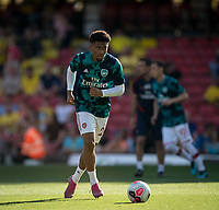 Reiss Nelson of Arsenal pre match during the Premier League match between Watford and Arsenal at Vicarage Road, Watford, England on 16 September 2019. Photo by Andy Rowland.