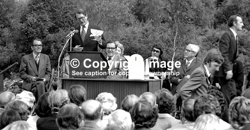US Ambassador to the UK, Elliot Richardson, speaking at official opening of Ulster American Folk Park, Camphill, Omagh, Co Tyrone, 30th July 1975. Also in the picture are: Merlyn Rees, Secretary of State for N Ireland, etc. 197507300567ER4<br /> <br /> Copyright Image from Victor Patterson, 54 Dorchester Park, Belfast, UK, BT9 6RJ<br /> <br /> t1: +44 28 9066 1296<br /> t2: +44 28 9002 2446<br /> m: +44 7802 353836<br /> <br /> e1: victorpatterson@me.com<br /> e2: victorpatterson@gmail.com<br /> <br /> www.victorpatterson.com<br /> <br /> IMPORTANT: Please see my Terms and Conditions of Use at www.victorpatterson.com