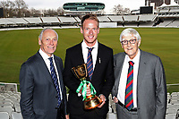 Colin Graves, Tom Westley (Essex vice captain) and Sir Michael Parkinson during the Lord's Taverners Presentation at Lord's Cricket Ground on 12th March 2018