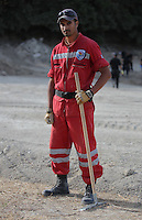 Pictured: Hellenic Red Cross volunteer worker Raphael Gerasklis at the farmhouse site in Kos, Greece. Monday 10 October 2016<br />