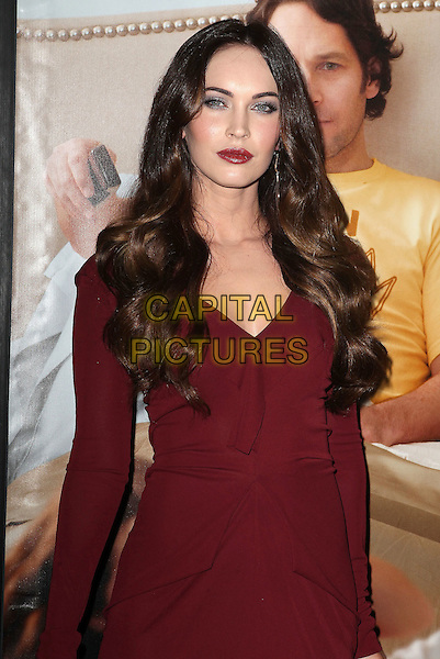 "Megan Fox.""This Is 40"" Los Angeles Premiere held at Grauman's Chinese Theatre, Hollywood, California, USA..December 12th, 2012.half length long sleeves dress purple maroon burgundy purple fuchsia lipstick .CAP/ADM/KB.©Kevan Brooks/AdMedia/Capital Pictures."