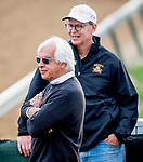 LOUISVILLE, KENTUCKY - MAY 01: Trainer Bob Baffert and WinStar CEO Elliot Walden watch as horses prepare for the Kentucky Derby at Churchill Downs in Louisville, Kentucky on May 1, 2019. Scott Serio/Eclipse Sportswire/CSM