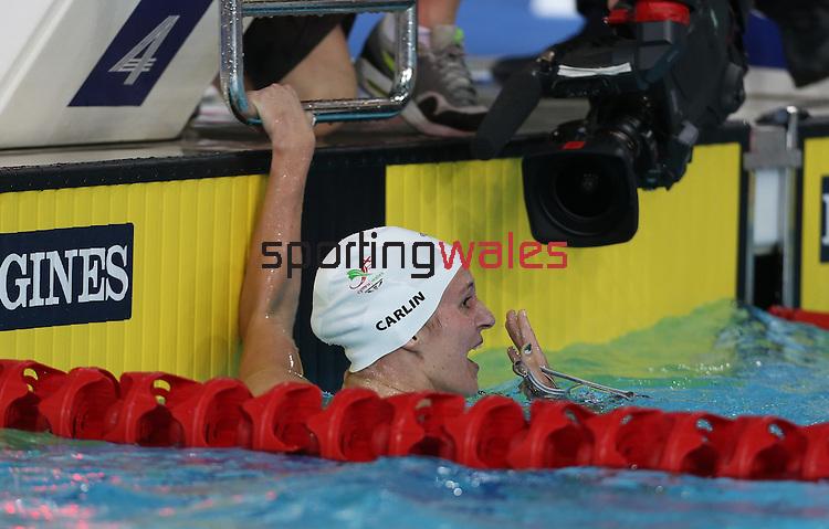 Glasgow 2014 Commonwealth Games<br /> Jazz Carlin in shock after winning gold in the women's 1500m Backstroke.<br /> <br /> 28.07.14<br /> ©Steve Pope-SPORTINGWALES