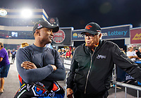 Oct 11, 2019; Concord, NC, USA; NHRA top fuel driver Antron Brown (left) with former driver Don Prudhomme during qualifying for the Carolina Nationals at zMax Dragway. Mandatory Credit: Mark J. Rebilas-USA TODAY Sports
