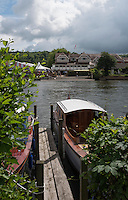 Henley on Thames. United Kingdom.  General View, from the Oxfordshire bank, looking at Leander Clubhouse.    Thursday,  30/06/2016,      2016 Henley Royal Regatta, Henley Reach.   [Mandatory Credit Peter Spurrier/ Intersport Images] Messing about on the River.