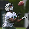 Frankie Hammond #14, New York Jets wide receiver, fields a punt during the first day of offseason training activity at the Atlantic Health Jets Training Center in Florham Park, NJ on Tuesday, May 23, 2017.