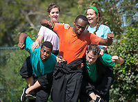 From left, Edward Jackson '16, Savannah Gilmore '15, Lukecus King '14, Sarah Martellaro '14 and Tristan Waldron '12 rehearse the Occidental Children's Theater production of The Emperor's New Clothes Encounters of the Third Kind in the Remsen Bird Hillside Theater on Wednesday, July 9, 2014. (Photo by Marc Campos, Occidental College Photographer)