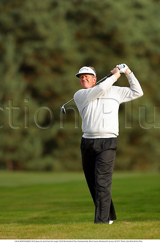 COLIN MONTGOMERIE (SCO) plays his shot from the rough, CISCO World Match Play Championship, West Course, Wentworth, Surrey, 021017. Photo: Glyn Kirk/Action Plus....2002.golf golfing golfer golfers