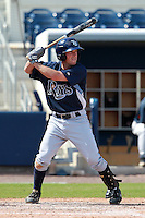 Tampa Bay Rays minor league third baseman Tyler Bortnick (55) during an Instructional League game vs. the Minnesota Twins at Charlotte Sports Park in Port Charlotte, Florida;  October 5, 2010.  Photo By Mike Janes/Four Seam Images