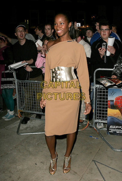 "JAMELIA .Arrivals at the ""Spider-Man 3"" afterparty held at The Freemasons' Hall, Holborn, London, England..April 23rd, 2007.spiderman spider man full length brown dress silver belt wife off the shoulder .CAP/AH.©Adam Houghton/Capital Pictures"